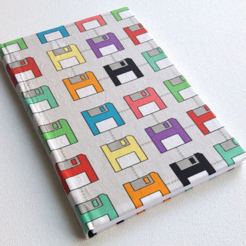 Geeky nerdy tech floppy disk save colorful journal with 160 blank white paged 8.5X5.5