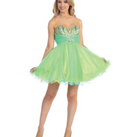 Neon Green & Turquoise Chiffon & Beaded Strapless Short Dress 2015 Prom Dresses