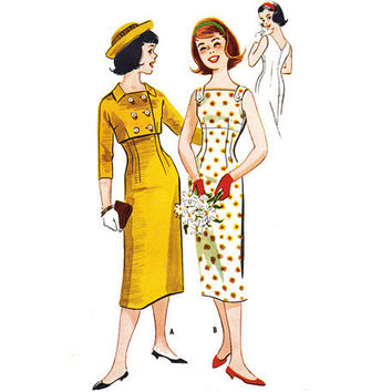 Vintage 1950s Sewing Pattern Wiggle Dress Double by mysweetiepiepie