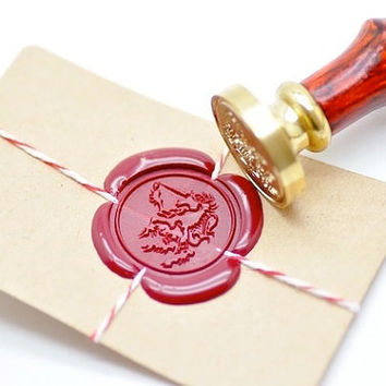 Heraldic Unicorn Mythical Creature Gold Plated Wax Seal Stamp x 1