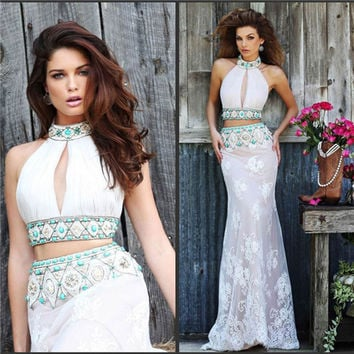 Sexy 2 Piece Gown Sheer Lace applique Long Evening dresses 2016 New Fashion Halter Neck Mermaid Prom Party Dress Crystals