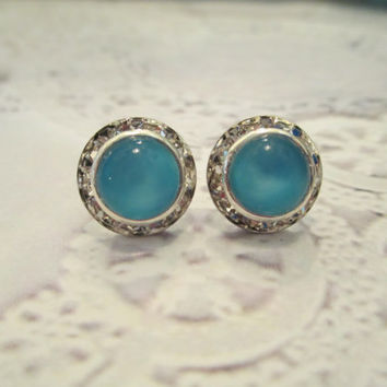 vintage 8mm deep aqua moonstone stud earrings, Emily dazzler studs. #304