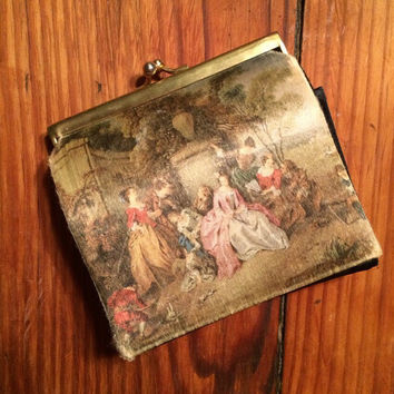 victorian portrait silk wallet, kiss lock coin purse, made in Italy, vintage, feminine, purse