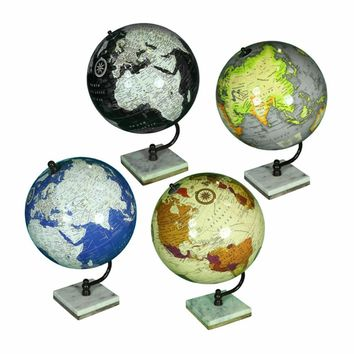 Assortment Of 4 Exquisite Globe On Stand, Multicolor By Benzara