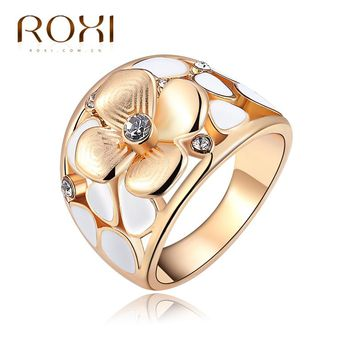 2017 ROXI Brand Ring Exquisite Flower Champagne Rings Rose Gold Color with Zircon Fashion Environmental Body Jewelry Gift