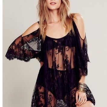 Summer Fashion Women's Sexy Strap Sheer Floral Lace Embroidered Crochet Beach Cover Up Dresses Black&White ZL3158
