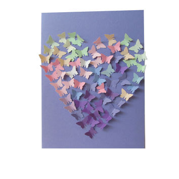Valentines's Day Card with 3D Butterflyies, 3D Butterflies Heart Greeting Card, Purple Pink Butterfly Heart Card