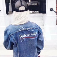 Balenciaga:2017 Men/Women Embroidery Floral Chaqueta