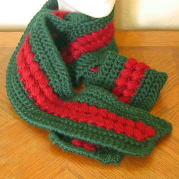 Long Winter Scarf - Wine Red Clusters on Pine Green - Handmade Crocheted Soft and Warm Scarf - 63 Inches Long