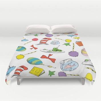 dr seuss pattern..  cat in the hat, lorax, oh the places you'll go,  Duvet Cover by Studiomarshallarts