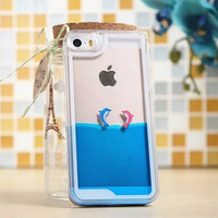 Hot! Fashion Fun Dolphin Liquid Case For iphone 5/5S/6S Transparent Clear Covers Hard Plastic Phone cases C024