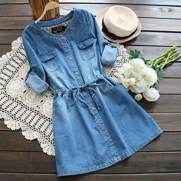 Denim Long-Sleeve Drawstring Waist Dress With Pockets