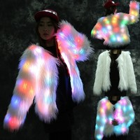 LED Fur Coat Stage Costumes LED Nightclub Christmas Outwear Women Dancer Star Jackets Size S-6XL