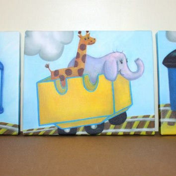 Set of 3 Choo Choo Train Stretched Canvases Children's Bedroom Baby Nursery CANVAS Bedroom Wall Art 3CS018