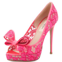 Peep-Toe Lace Bow Pump, Pink
