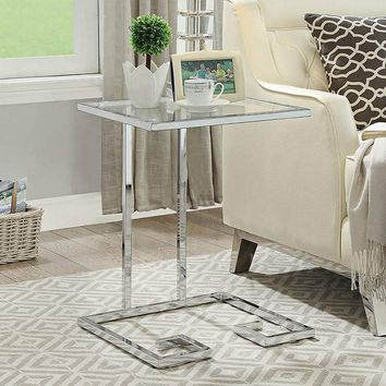 Greek Key Glass Top and Chrome Metal C-Shaped Side Table - #65W82 | Lamps Plus
