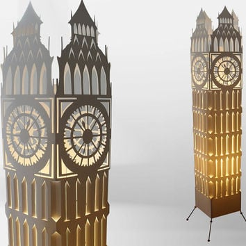 Big ben clock tower/ Floor lamp/ Lampshade/ Free Shipping/ Night lamp/ Archtitecture art/ Clock lamp/ Paper lamp/ Art lamp/ Design lamp/