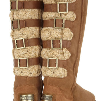 Australia Luxe Collective Spartan shearling and chunky-knit boots  – 60% at THE OUTNET.COM