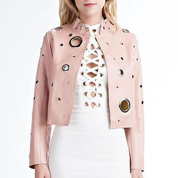 Fabulous Faux Leather Jacket with Holes