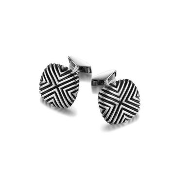 John Hardy bedeg collection triangle line pattern square cufflinks with black finish