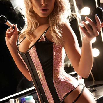 Leather and Brocade Marilyn Corset Set