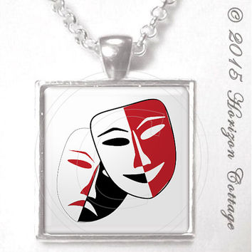 Drama Mask - Comedy and Tragedy - Digital Art for Actors - Thespians - Altered Art Pendant or Key Ring