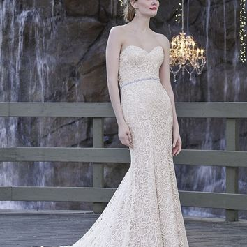Casablanca Bridal Hyacinth 2252 Strapless Lace Fit & Flare Wedding Dress