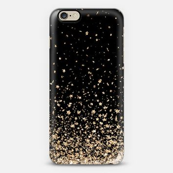 Black and Gold Stars Rain iPhone 6 case by Organic Saturation | Casetify