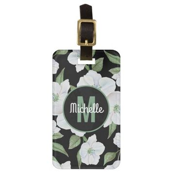 Personalized Elegant Floral Travel Monogram Luggage Tag