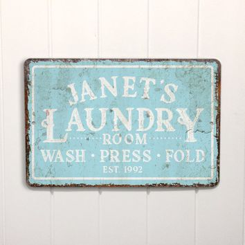 Personalized Mint Distressed Vintage-Look Laundry Metal Sign Wall Décor