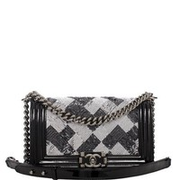 Madison Avenue Couture Chanel Black And White Sequin Medium Boy Bag