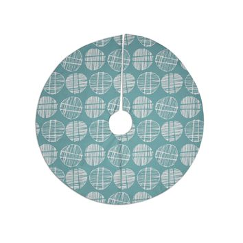 "Gill Eggleston ""Sketched Pods Teal"" Teal White Abstract Modern Vector Digital Tree Skirt"