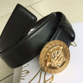 CHEN1ER New Versace Round Gold Medusa Buckle Black Leather Men's Belt SIZE 100