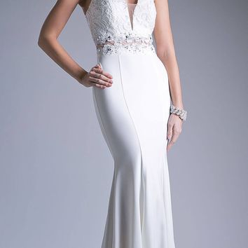Keyhole Neckline Lace Bodice Mermaid Floor Length Prom Dress Cream