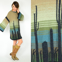 southwestern desert OMBRE cactus SAGUARO bohemian bell sleeve SWEATER dress, extra small-medium