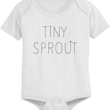 Tiny Sprout Cute Baby Bodysuit - Pre-Shrunk Cotton Snap-On Style Baby Onesuit