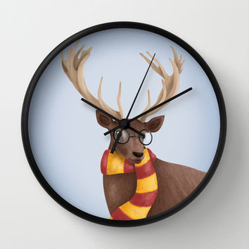 Harry Potter Stag Patronus EXPECTO PATRONUM ! Hogwarts Gryffindor Wall Clock by BaconFactory