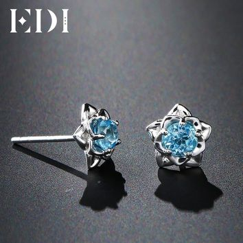 EDI 0.6cttw Blue Topaz 925 Sterling Silver Fashion Stud Earrings Women Solitaire Rose Beauty And The Beast Design Fine Jewelry