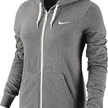 DCCK8BW New Nike Women's Jersey Full-Zip Hoodie Dk Grey Heather/White/White X-Large