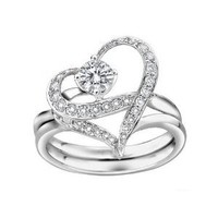 Couples Heart Shape with Cubic Zirconia Wedding Band Single-minded Love Separable Promise Ring