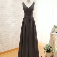 Spaghetti Strap V Neck A Line Wedding Party Dress Elegant Long Dark Gray Prom Dresse Formal Evening Dresses 2014 Bridesmaid Dress