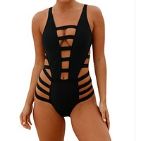 Hollow Out Backless Beach One Piece Swimwear Bikini Swimsuit