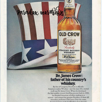 Vintage 1969 60's Old Crow Kentucky Straight Bourbon Whiskey Print Ad Wall Art Decor Man Cave