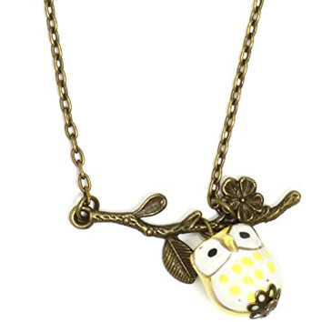 Owl and Branch Necklace Antique Gold Tone Retro Yellow Charm Pendant NR31 Fashion Jewelry
