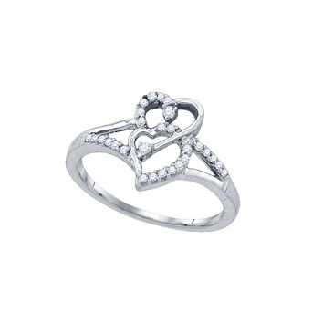 10k White Gold Womens Round Diamond Double Heart Promise Bridal Ring 1/6 Cttw 77592