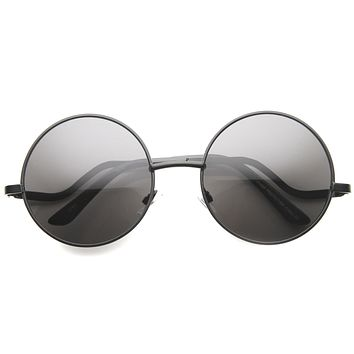 Women's 1950's Retro Low Temple Round Sunglasses 9979