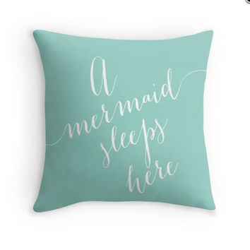 A Mermaid Sleeps Here Pillow Cover
