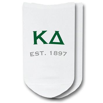 Kappa Delta - Greek Letters with Sorority Founding Date No-Show Socks - 1 pair