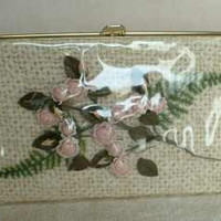 1940s Vinyl Overlay Clutch Purse Roses Crochet Plastic Cover Rare Vintage Accessory