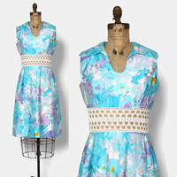 Vintage 60s Crochet Cut-Out Dress / 1960s Pulitzer Style Pastel Cotton Dress